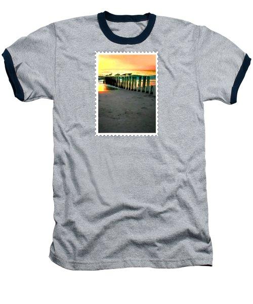 Sea Gulls On Pilings  At Sunset Baseball T-Shirt by Elaine Plesser