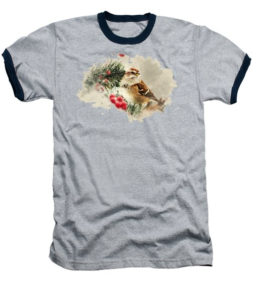 American Tree Sparrow Watercolor Art Baseball T-Shirt by Christina Rollo