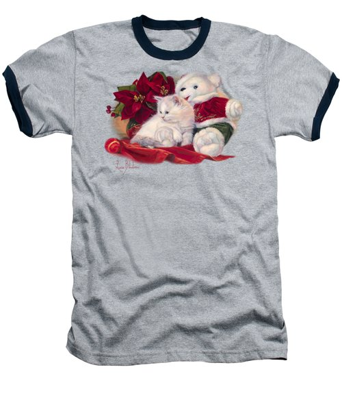 Christmas Kitten Baseball T-Shirt by Lucie Bilodeau