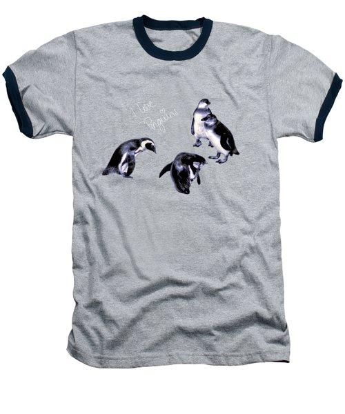 Cute Penguins Baseball T-Shirt by Pennie  McCracken