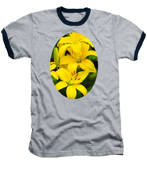 Yellow Lilies Baseball T-Shirt by Christina Rollo