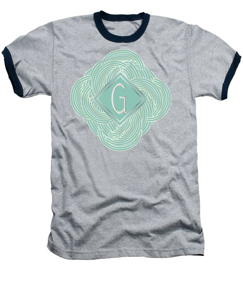 1920s Blue Deco Jazz Swing Monogram ...letter G Baseball T-Shirt by Cecely Bloom
