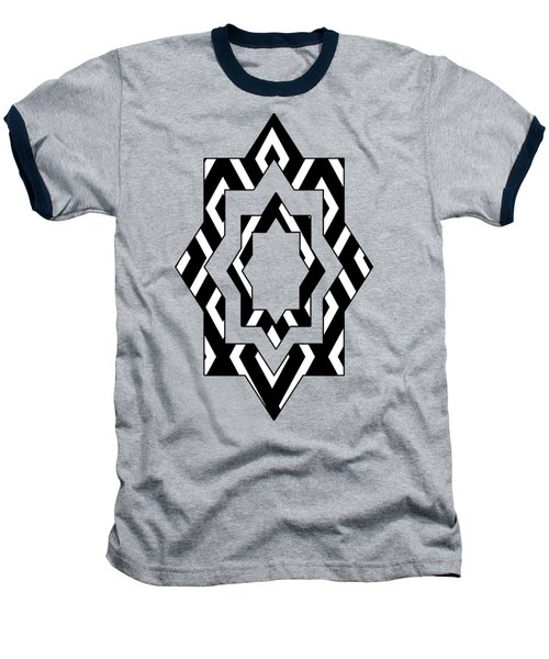 Black And White Pattern Baseball T-Shirt by Christina Rollo