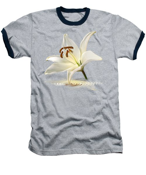 Blue Horizons - White Lily Baseball T-Shirt by Gill Billington