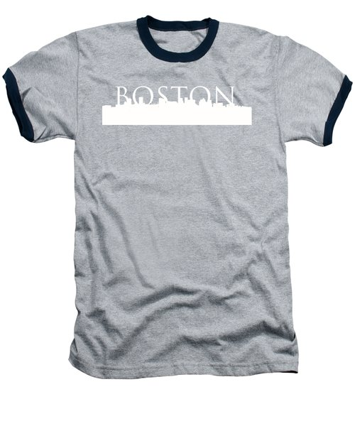 Boston Skyline Outline Logo 2 Baseball T-Shirt by Joann Vitali