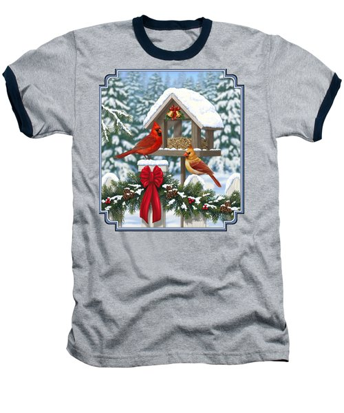 Cardinals Christmas Feast Baseball T-Shirt by Crista Forest