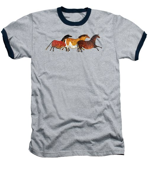 Baseball T-Shirt featuring the painting Cave Horses In Beige by Hailey E Herrera