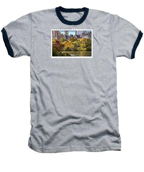 Central Park Lake In Fall Baseball T-Shirt by Elaine Plesser