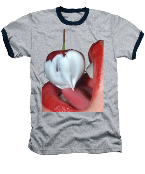 Cherries And Cream Baseball T-Shirt by Joann Vitali