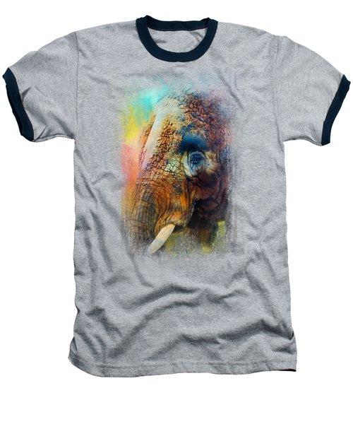 Colorful Expressions Elephant Baseball T-Shirt by Jai Johnson