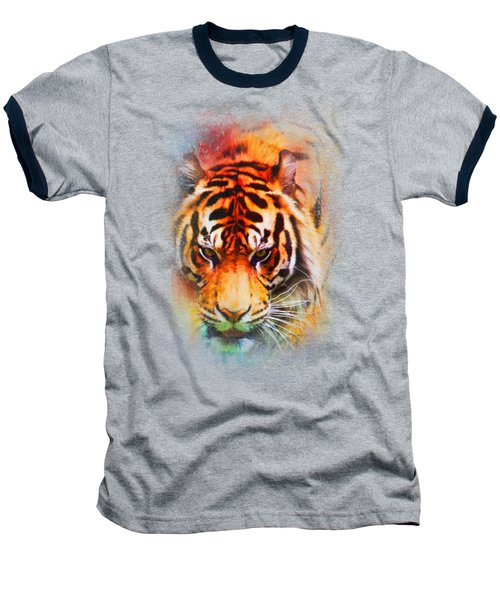 Colorful Expressions Tiger Baseball T-Shirt by Jai Johnson