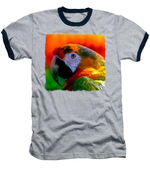 Colorful Macaw Parrot Baseball T-Shirt by Linda Koelbel