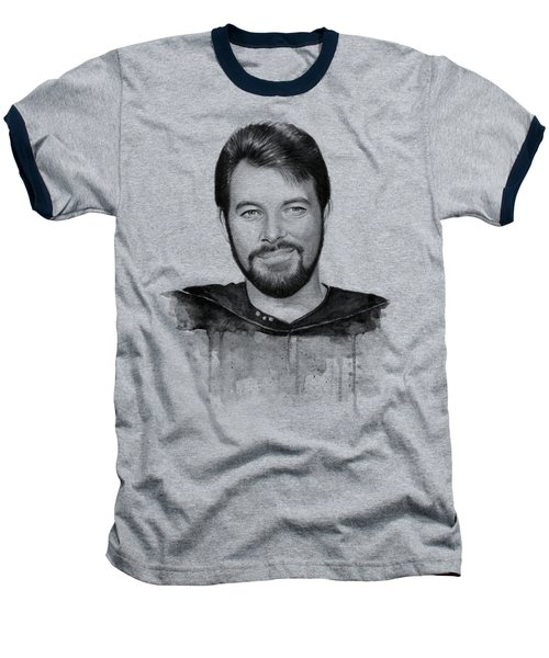 Commander William Riker Star Trek Baseball T-Shirt by Olga Shvartsur