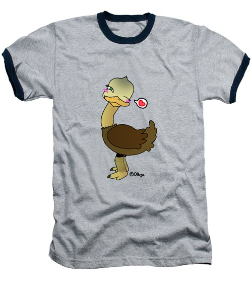 Cute Ostrich Baseball T-Shirt by Olluga Gifts
