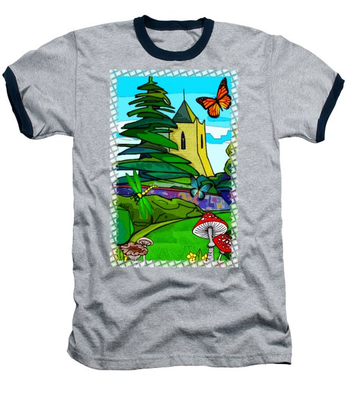 English Garden Whimsical Folk Art Baseball T-Shirt by Sharon and Renee Lozen