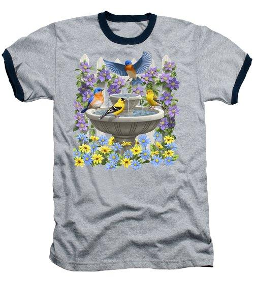 Fountain Festivities - Birds And Birdbath Painting Baseball T-Shirt by Crista Forest