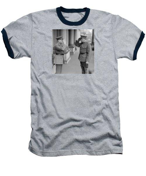 General John Pershing Saluting Babe Ruth Baseball T-Shirt by War Is Hell Store