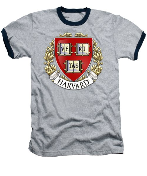 Harvard University Seal - Coat Of Arms Over Colours Baseball T-Shirt by Serge Averbukh