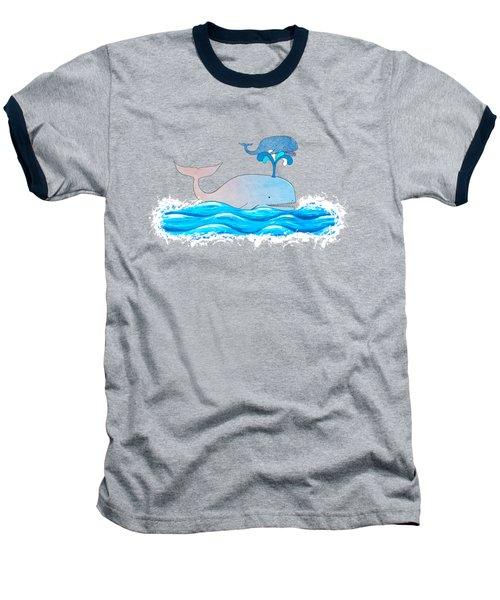 How Whales Have Fun Baseball T-Shirt by Shawna Rowe