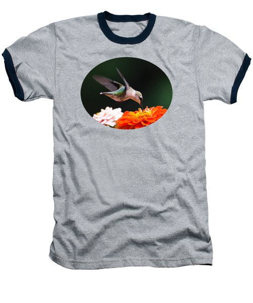 Hummingbird In Flight With Orange Zinnia Flower Baseball T-Shirt by Christina Rollo