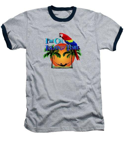 Island Time And Parrot Baseball T-Shirt by Chris MacDonald