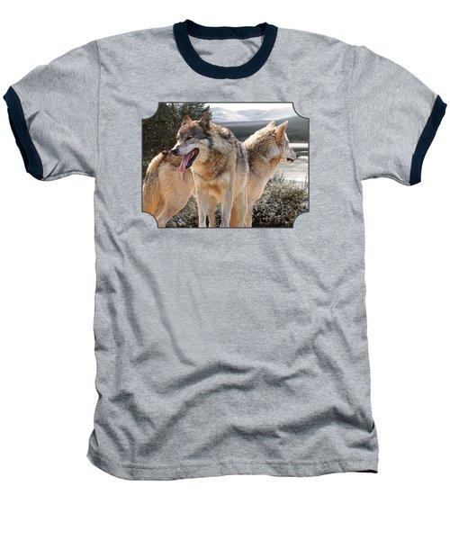 Keeping Watch - Pair Of Wolves Baseball T-Shirt by Gill Billington