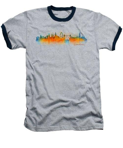 London City Skyline Hq V3 Baseball T-Shirt by HQ Photo