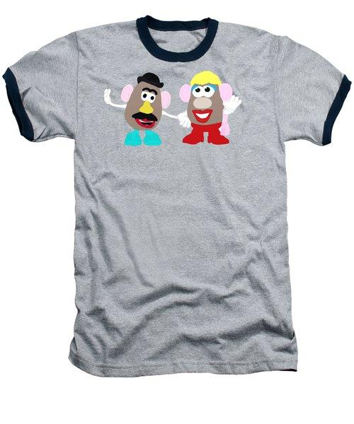 Mr. And Mrs. Potato Head Baseball T-Shirt by Priscilla Wolfe