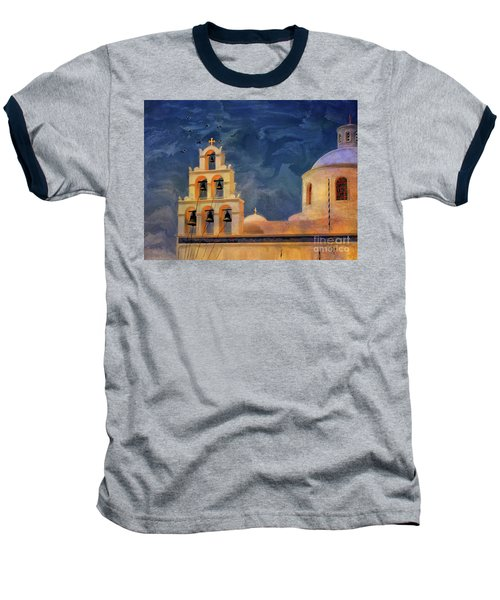 Baseball T-Shirt featuring the photograph Oia Sunset Imagined by Lois Bryan
