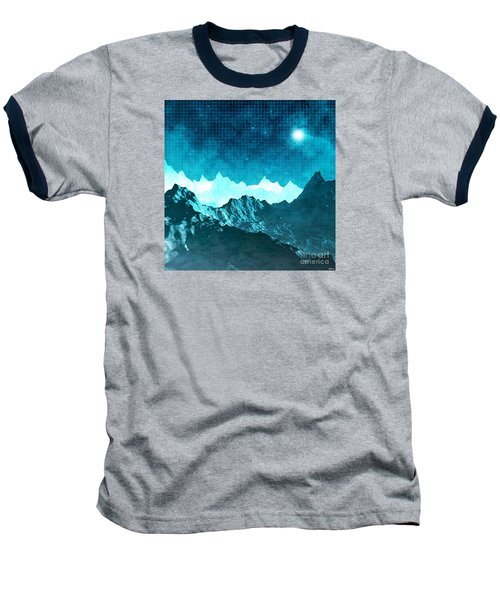 Baseball T-Shirt featuring the digital art Outer Space Mountains by Phil Perkins