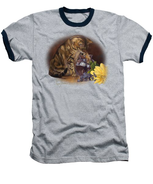 Paw In The Vase Baseball T-Shirt by Lucie Bilodeau