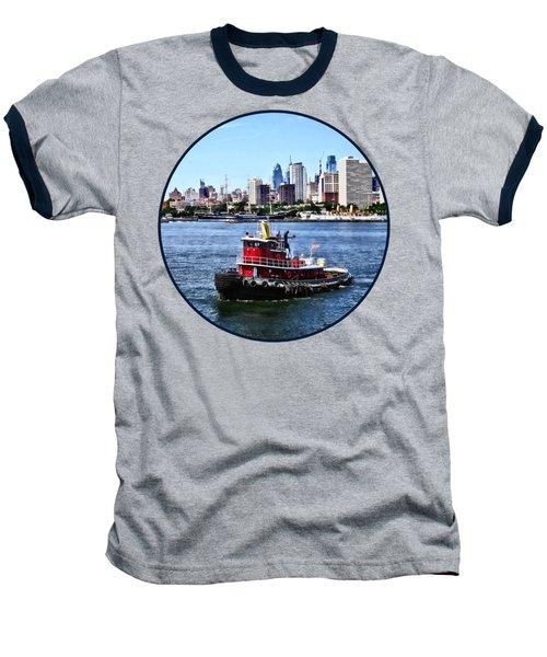 Philadelphia Pa - Tugboat By Philadelphia Skyline Baseball T-Shirt by Susan Savad