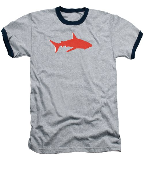 Baseball T-Shirt featuring the mixed media Red Shark by Linda Woods