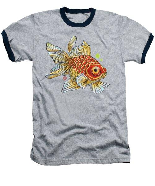 Red Telescope Goldfish Baseball T-Shirt by Shih Chang Yang