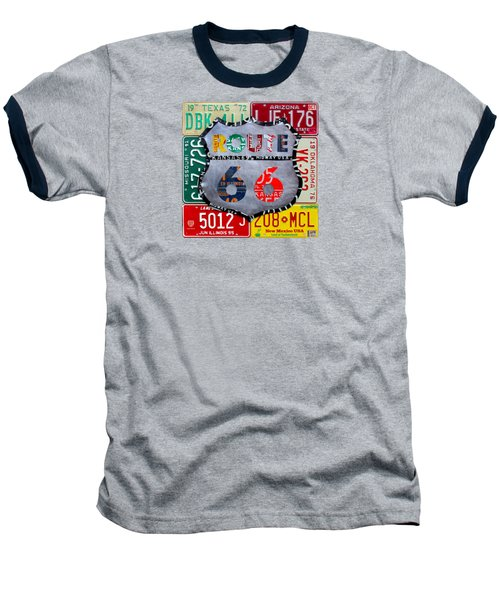 Route 66 Highway Road Sign License Plate Art Baseball T-Shirt by Design Turnpike