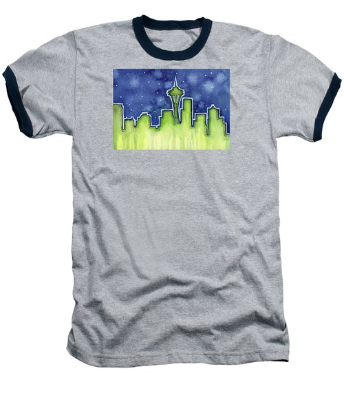Seattle Night Sky Watercolor Baseball T-Shirt by Olga Shvartsur