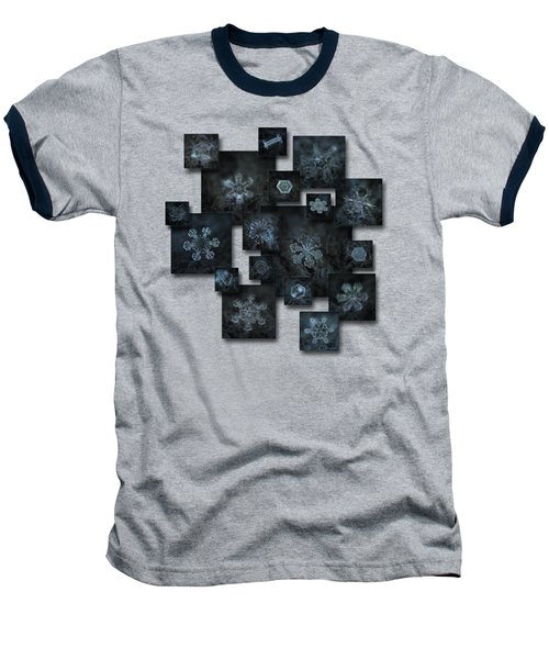 Baseball T-Shirt featuring the photograph Snowflake Collage - Dark Crystals 2012-2014 by Alexey Kljatov