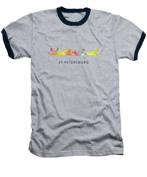 St Petersburg Florida Skyline Baseball T-Shirt by Marlene Watson