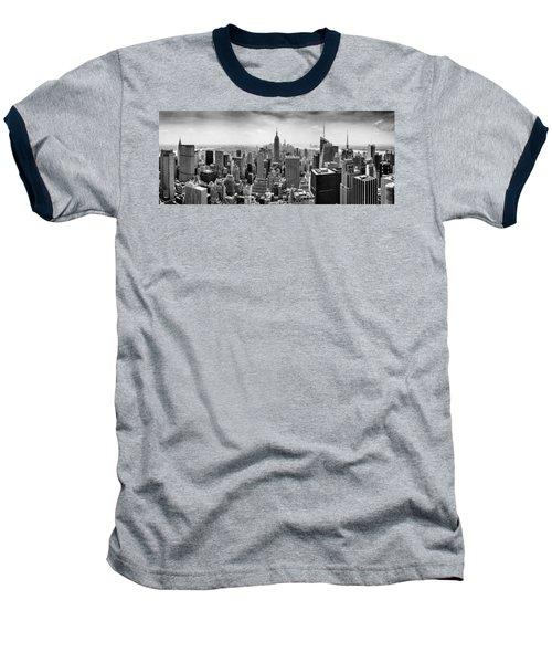 New York City Skyline Bw Baseball T-Shirt by Az Jackson