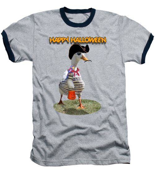 Trick Or Treat For Cap'n Duck Baseball T-Shirt by Gravityx9 Designs