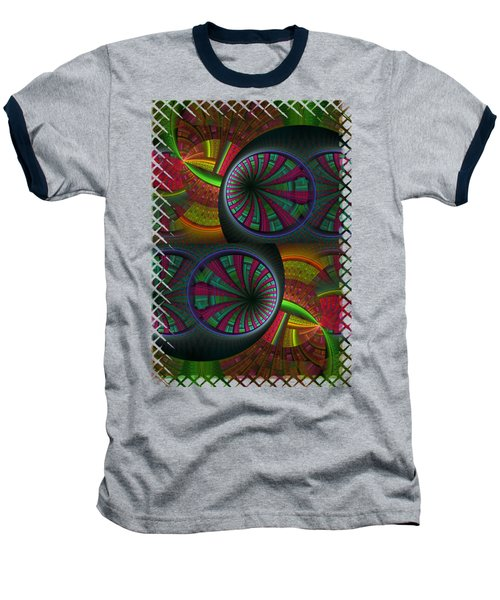 Tunneling Abstract Fractal Baseball T-Shirt by Sharon and Renee Lozen