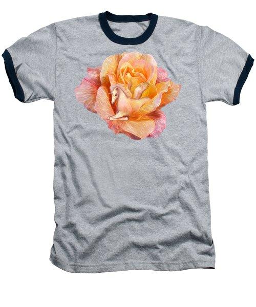 Unicorn Rose Baseball T-Shirt by Carol Cavalaris