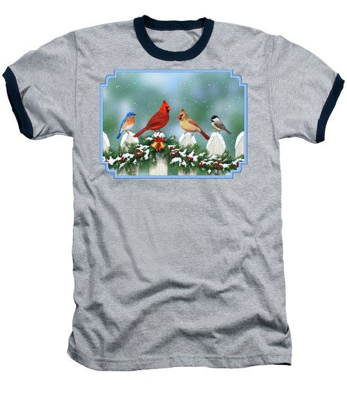 Winter Birds And Christmas Garland Baseball T-Shirt by Crista Forest