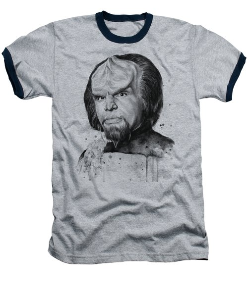 Worf Portrait Watercolor Star Trek Art Baseball T-Shirt by Olga Shvartsur
