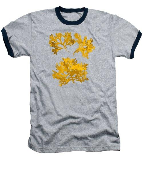 Baseball T-Shirt featuring the mixed media Yellow Gold Seaweed Art Delesseria Alata by Christina Rollo