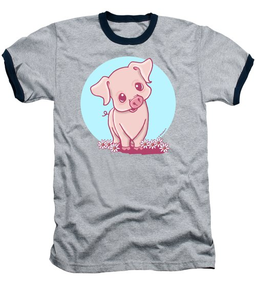 Yittle Piggy Baseball T-Shirt by Kim Niles