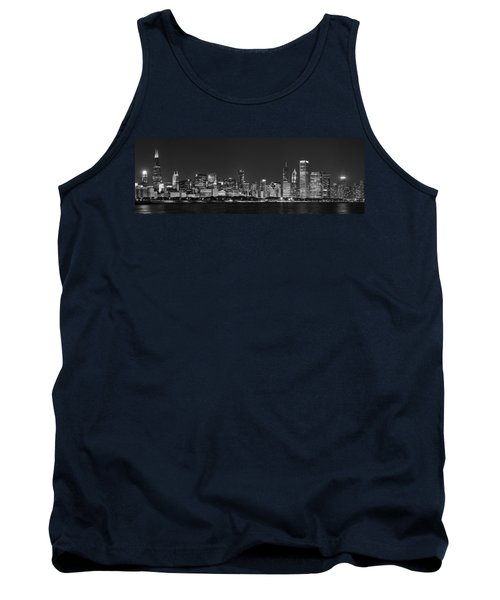 Chicago Skyline At Night Black And White Panoramic Tank Top by Adam Romanowicz