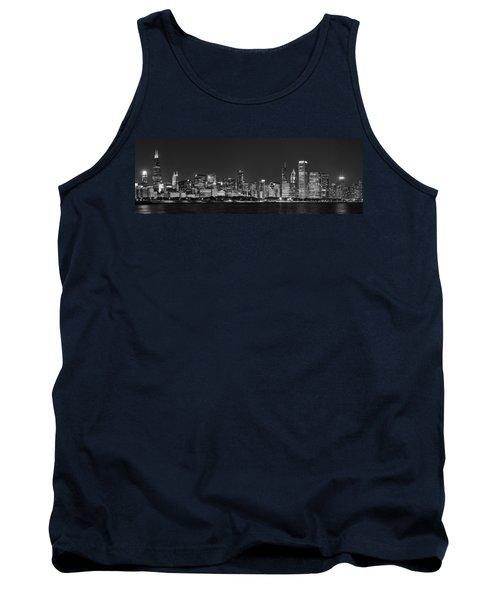 Chicago Skyline At Night Black And White Panoramic Tank Top