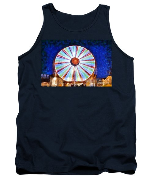 Tank Top featuring the painting Christmas Ferris Wheel by George Atsametakis