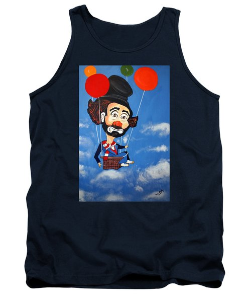 Tank Top featuring the painting Clown Up Up And Away by Nora Shepley